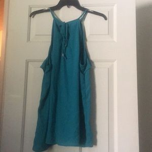 Pretty turquoise ruffle summer blouse